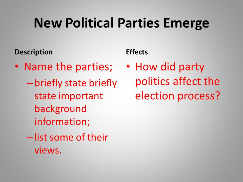 New Political Parties Emerge Description Name the parties; – briefly state briefly state important background information; – list some of their views.
