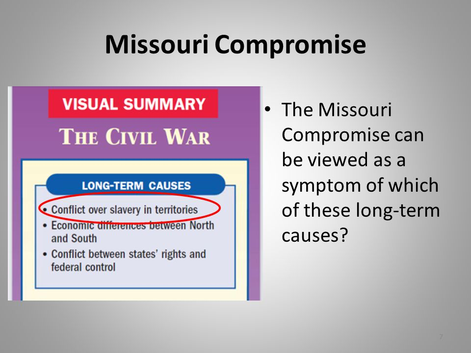 Missouri Compromise The Missouri Compromise can be viewed as a symptom of which of these long-term causes.