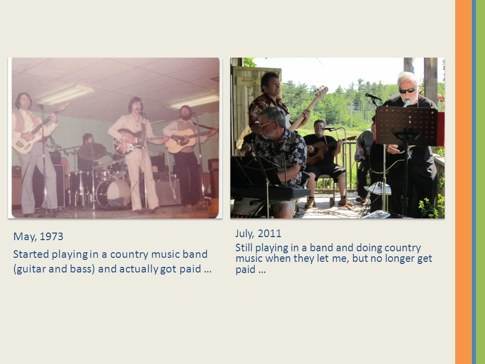 May, 1973 Started playing in a country music band (guitar and bass) and actually got paid … July, 2011 Still playing in a band and doing country music when they let me, but no longer get paid …