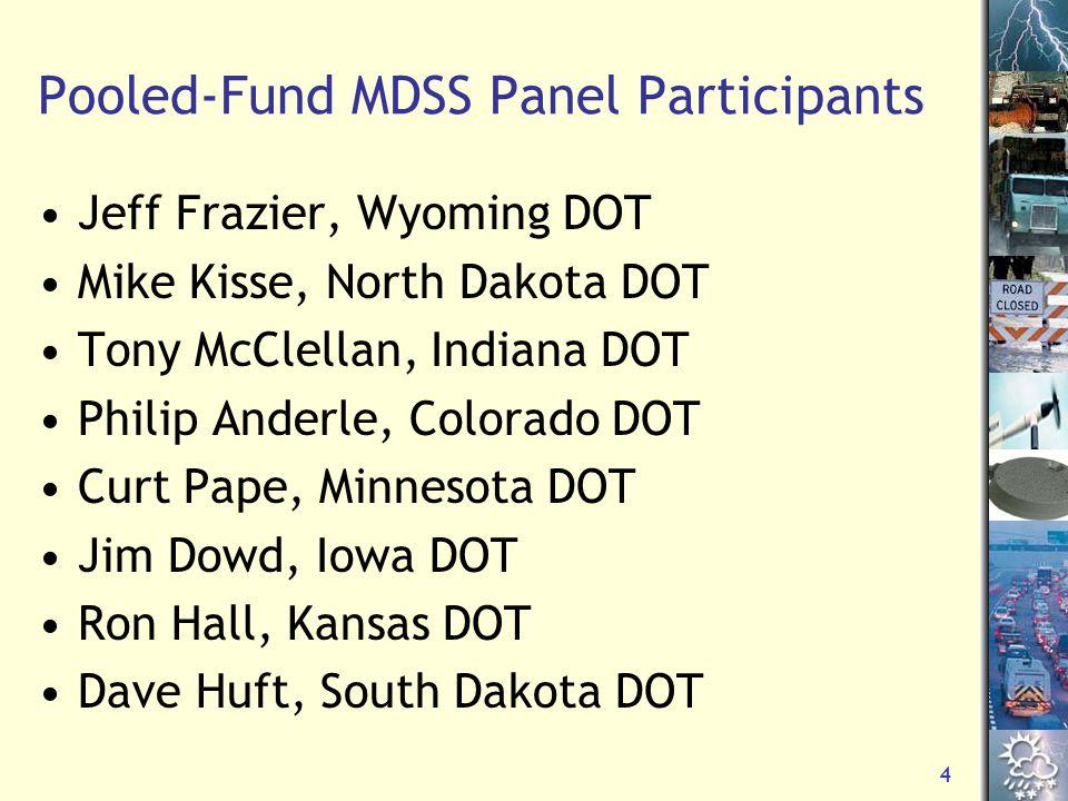 5 DTN MDSS Pilot Participants Kent Mayer, Nevada DOT Mike Lashmet, New York DOT Brian Burne, Maine DOT Scott Ross, NY State Thruway Authority Dalyce Ronnau, Nebraska DOR