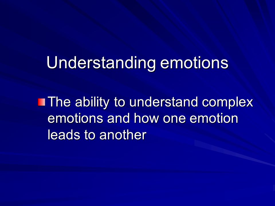Managing emotions The ability to intelligently act on the data of emotions in your self and in others
