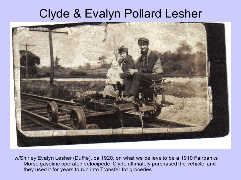 Clyde & Evalyn Pollard Lesher w/Shirley Evalyn Lesher (Duffie), ca 1920, on what we believe to be a 1910 Fairbanks Morse gasoline operated velocipede.