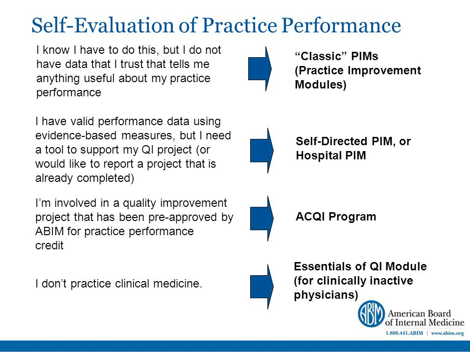 Self-Evaluation of Practice Performance I know I have to do this, but I do not have data that I trust that tells me anything useful about my practice performance I don't practice clinical medicine.