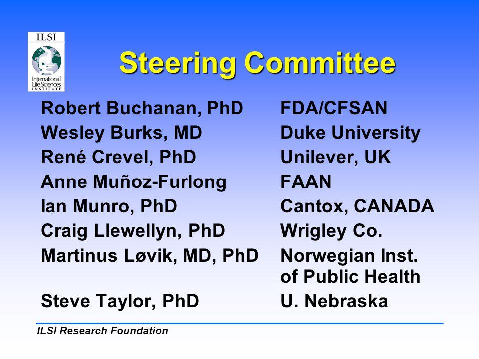 ILSI Research Foundation Steering Committee Robert Buchanan, PhDFDA/CFSAN Wesley Burks, MDDuke University René Crevel, PhDUnilever, UK Anne Muñoz-Furl