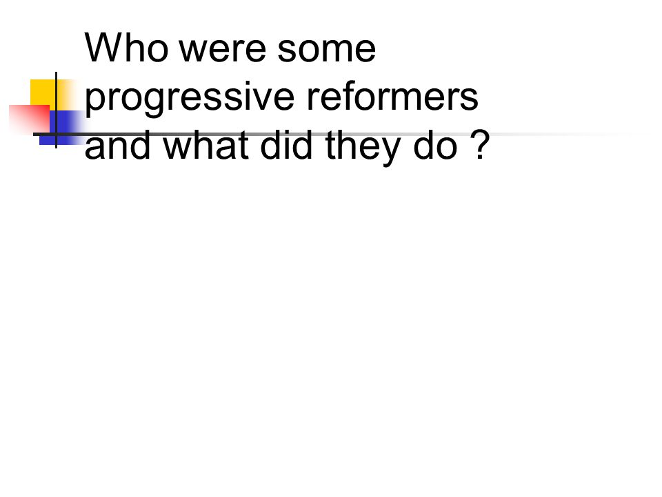 Who were some progressive reformers and what did they do ?