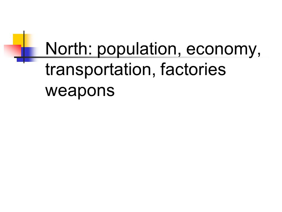 North: population, economy, transportation, factories weapons