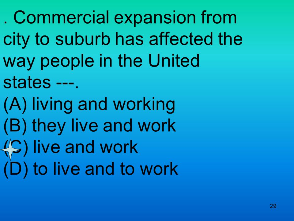 29. Commercial expansion from city to suburb has affected the way people in the United states ---.