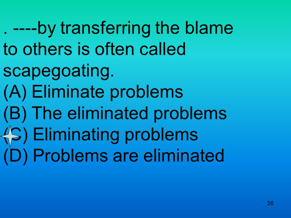 36. ----by transferring the blame to others is often called scapegoating.