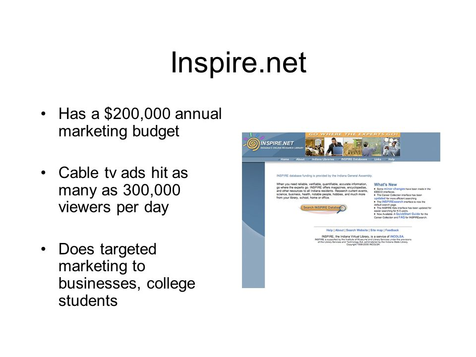 Inspire.net Has a $200,000 annual marketing budget Cable tv ads hit as many as 300,000 viewers per day Does targeted marketing to businesses, college students