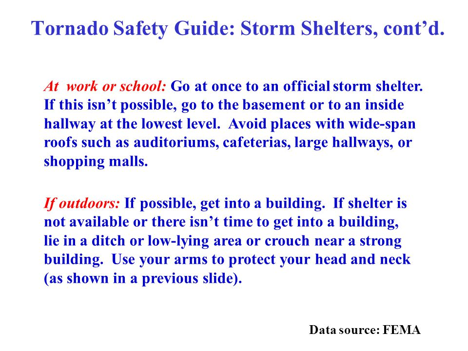 Tornado Safety Guide: Storm Shelters, cont'd.