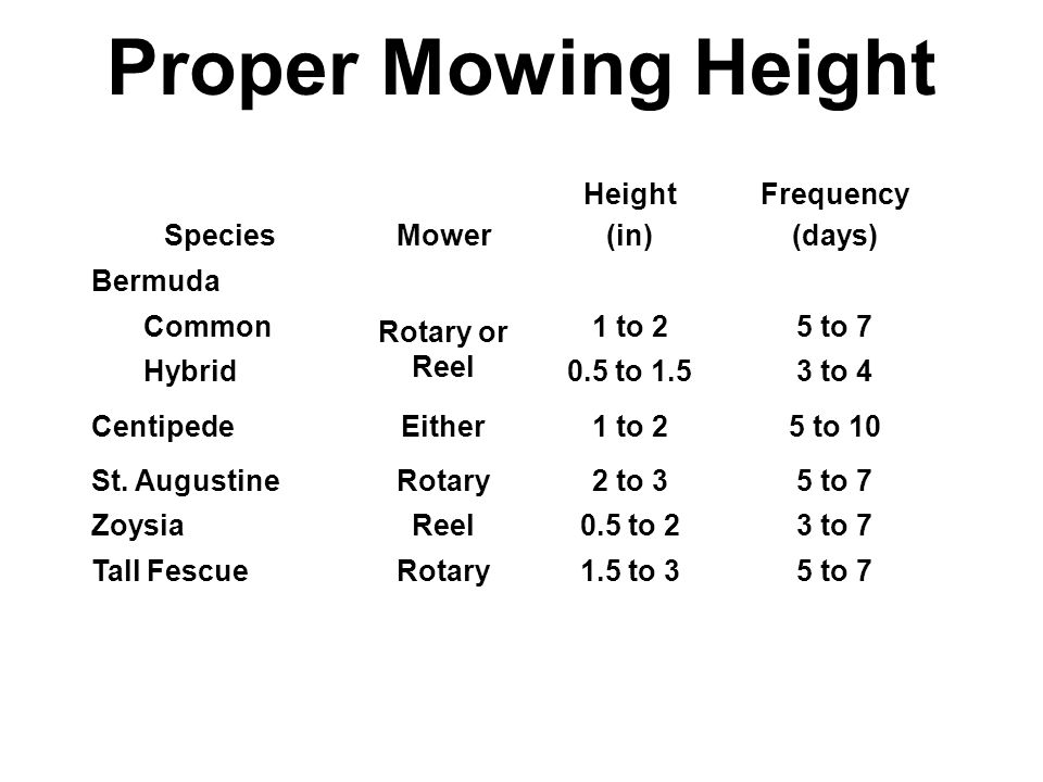 Proper Mowing Height SpeciesMower Height (in) Frequency (days) Bermuda Common Rotary or Reel 1 to 25 to 7 Hybrid0.5 to 1.53 to 4 CentipedeEither1 to 25 to 10 St.