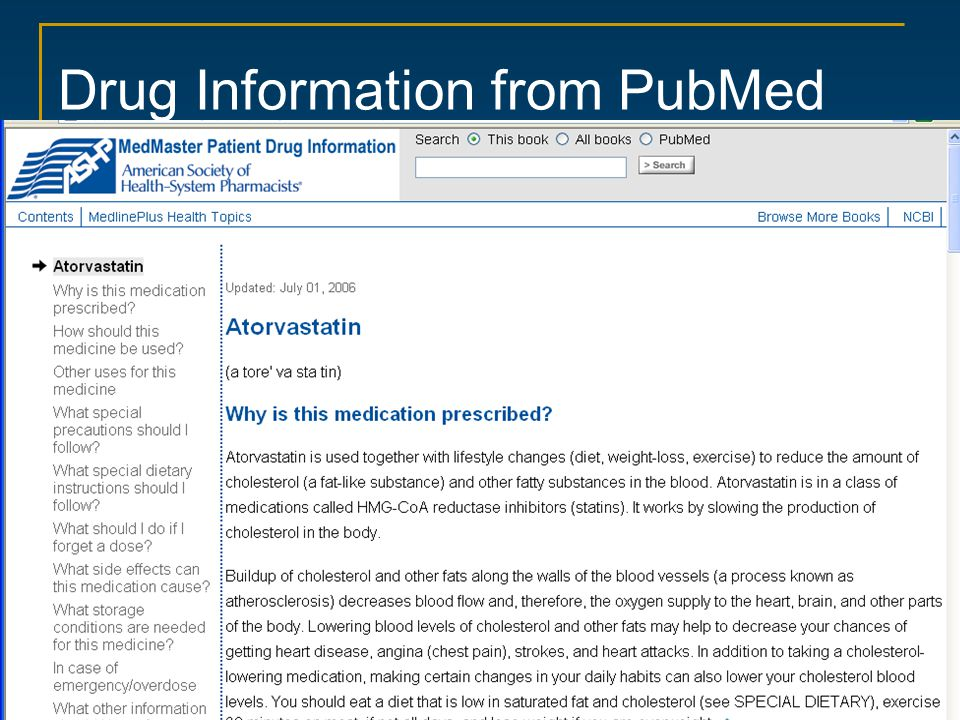 Drug Information from PubMed