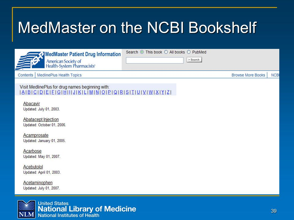 39 MedMaster on the NCBI Bookshelf