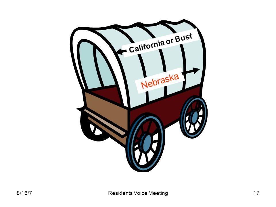 8/16/7Residents Voice Meeting17 Nebraska California or Bust