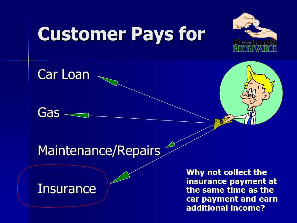 Customer Pays for Car Loan GasMaintenance/RepairsInsurance Why not collect the insurance payment at the same time as the car payment and earn additional income?