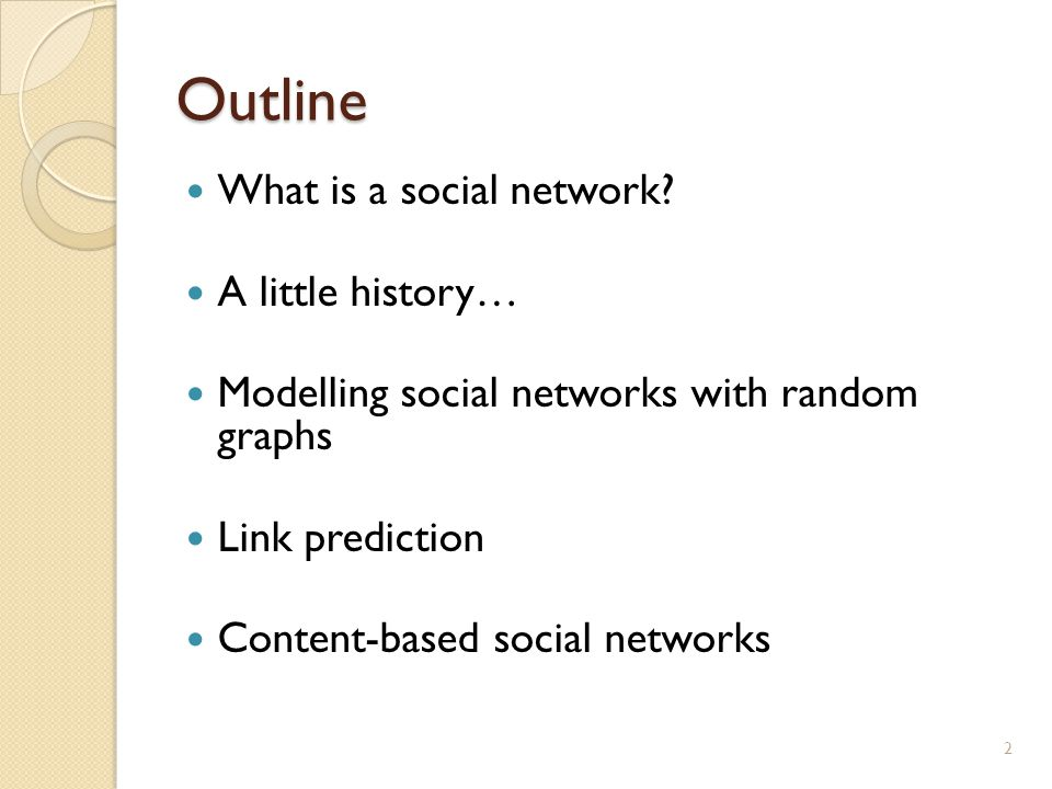 Outline What is a social network.