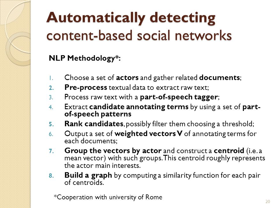 Automatically detecting content-based social networks NLP Methodology*: 1.