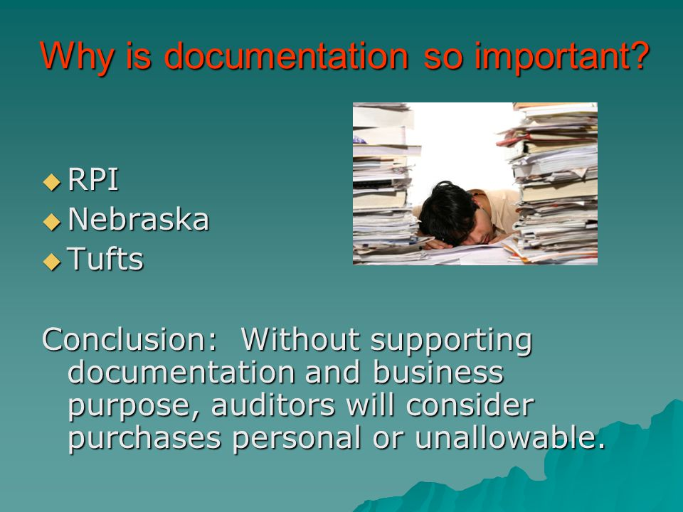 Why is documentation so important.