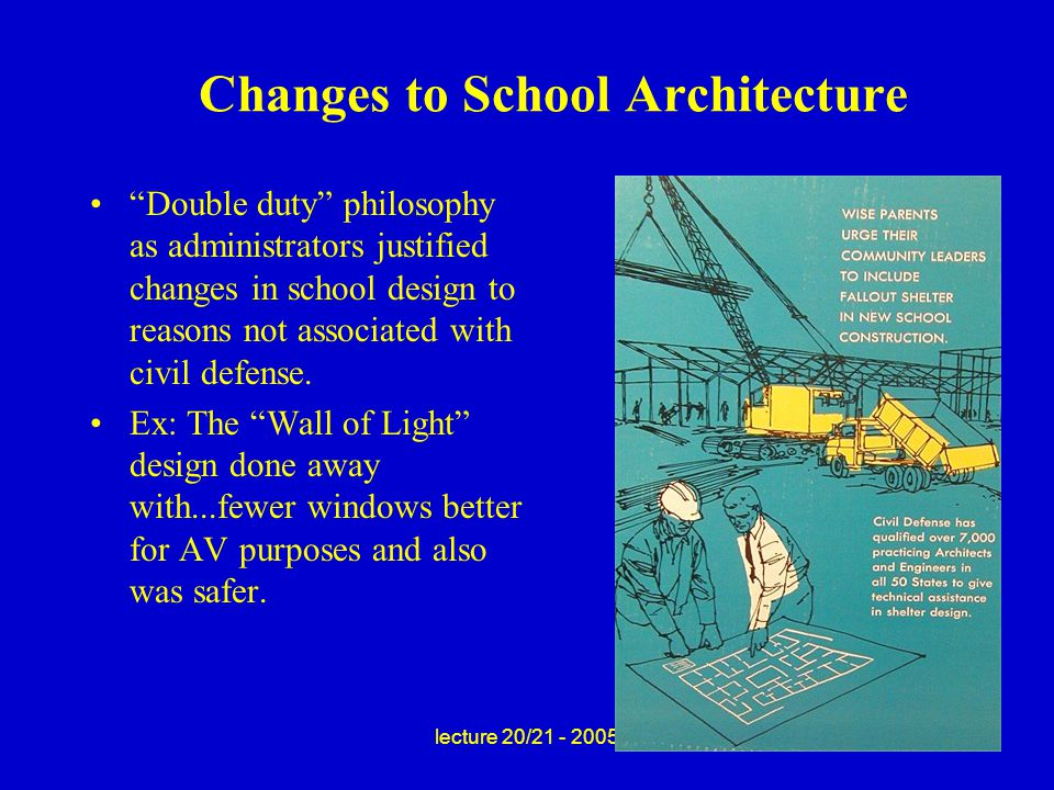 lecture 20/21 - 2005 Changes to School Architecture Double duty philosophy as administrators justified changes in school design to reasons not associated with civil defense.