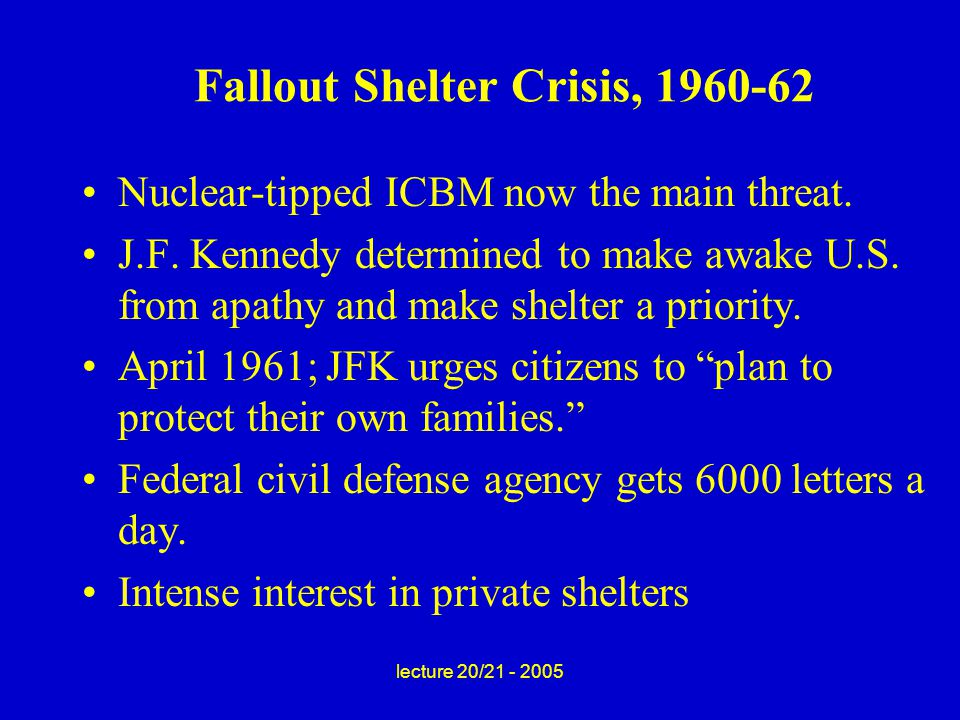 lecture 20/21 - 2005 Fallout Shelter Crisis, 1960-62 Nuclear-tipped ICBM now the main threat.