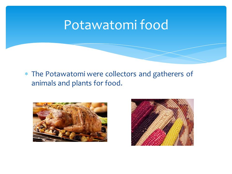  The Potawatomi were collectors and gatherers of animals and plants for food. Potawatomi food