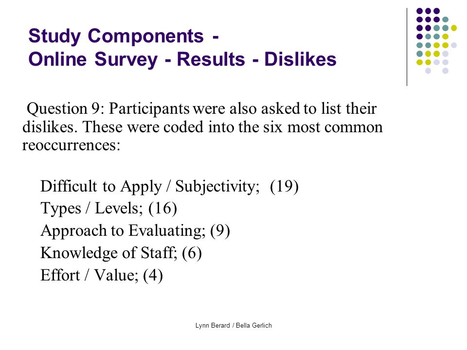 Lynn Berard / Bella Gerlich Study Components - Online Survey - Results - Dislikes Question 9: Participants were also asked to list their dislikes.