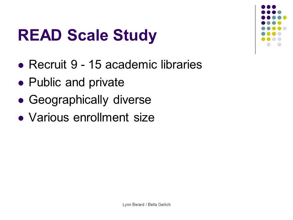 Lynn Berard / Bella Gerlich READ Scale - preliminary data Comparisons per service point (READ Scale) Comparisons off-desk (READ Scale) Approach type, service points Approach type, off-desk