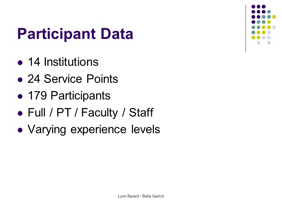 Lynn Berard / Bella Gerlich Participant Data 14 Institutions 24 Service Points 179 Participants Full / PT / Faculty / Staff Varying experience levels