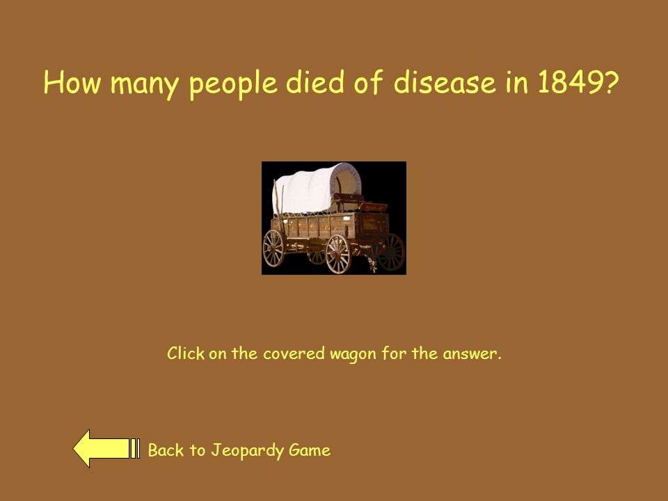 How many people died of disease in 1849.Click on the covered wagon for the answer.
