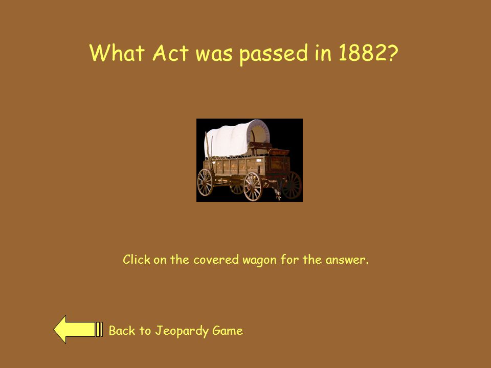 The Transcontinental Railroad Back to Jeopardy GamePrevious Page