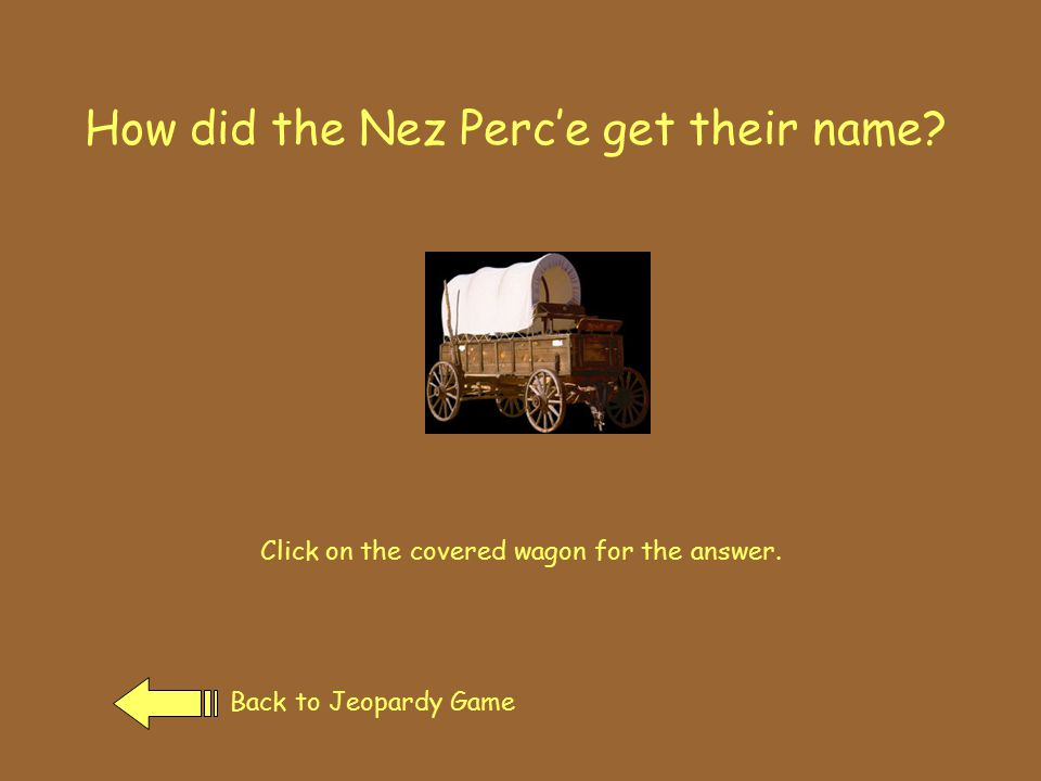 In the 1840's Back to Jeopardy GamePrevious Page