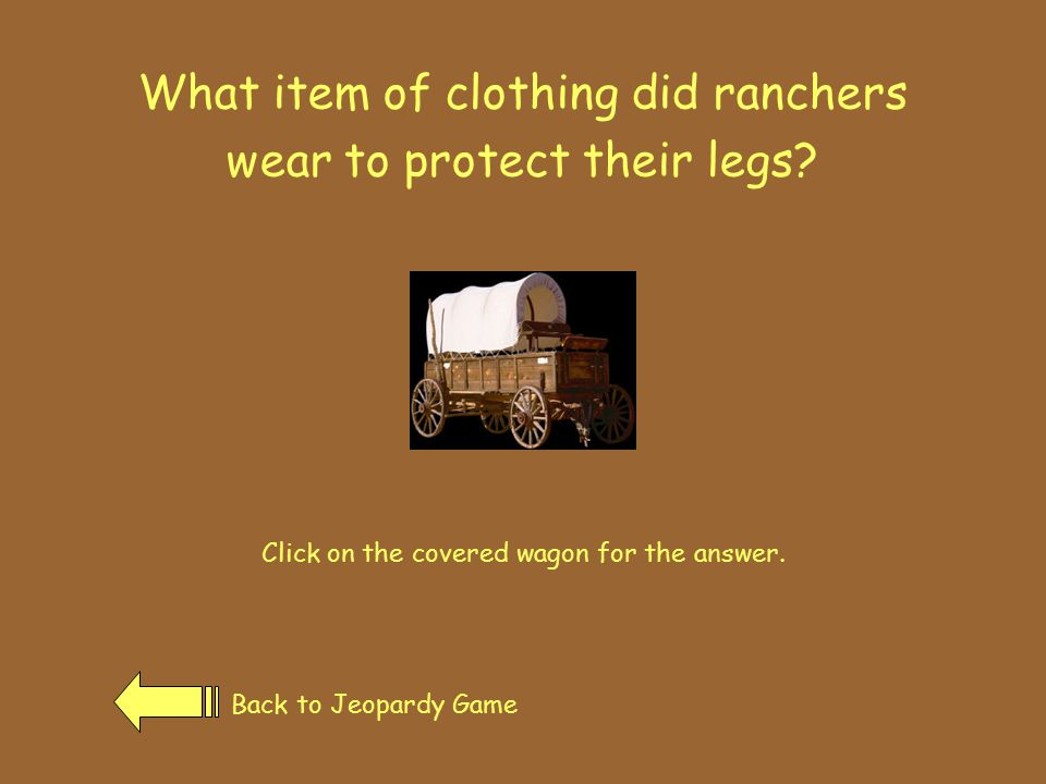 Who started the Mormon church? Click on the covered wagon for the answer. Back to Jeopardy Game