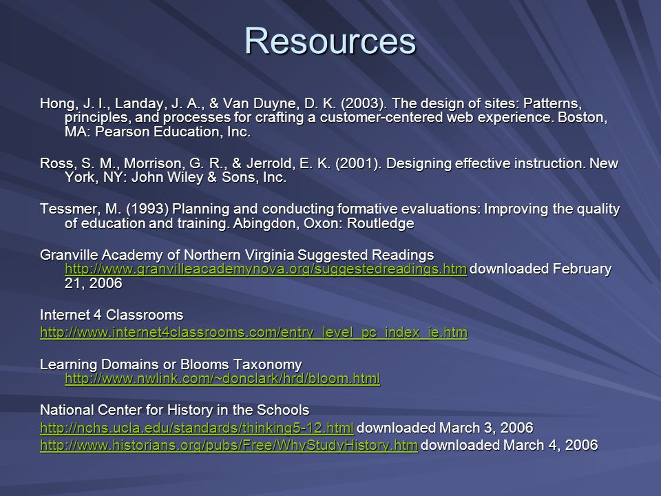 Resources Hong, J. I., Landay, J. A., & Van Duyne, D.