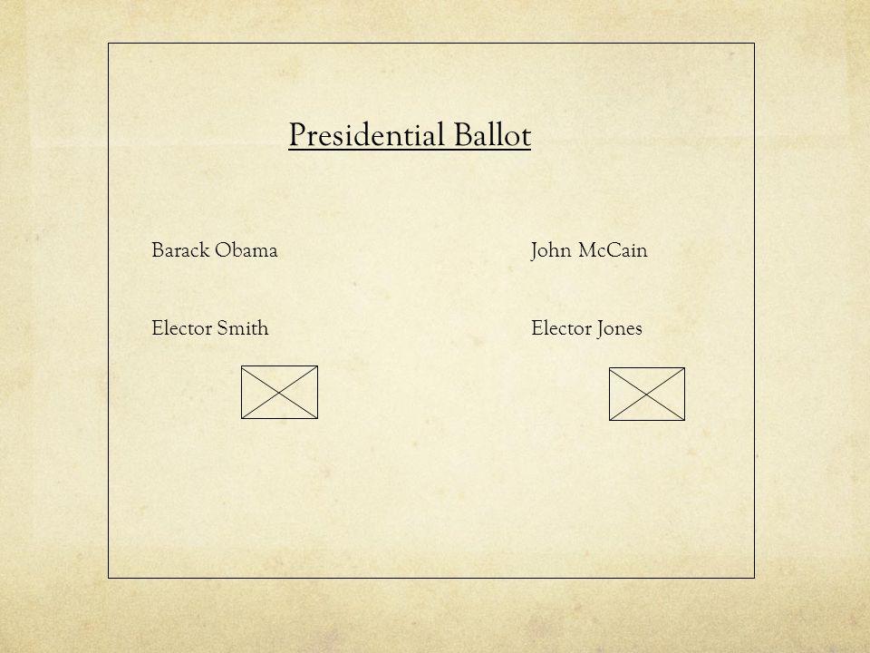 Presidential Ballot Barack Obama Elector Smith John McCain Elector Jones