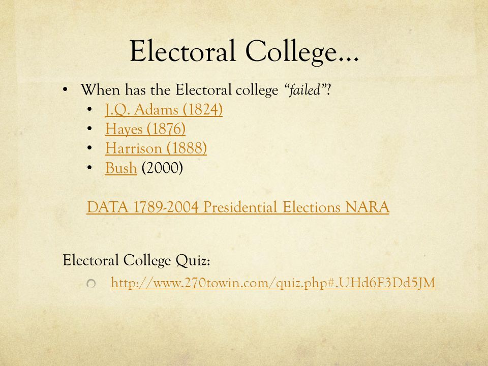 Electoral College… Electoral College Quiz: http://www.270towin.com/quiz.php#.UHd6F3Dd5JM When has the Electoral college failed .