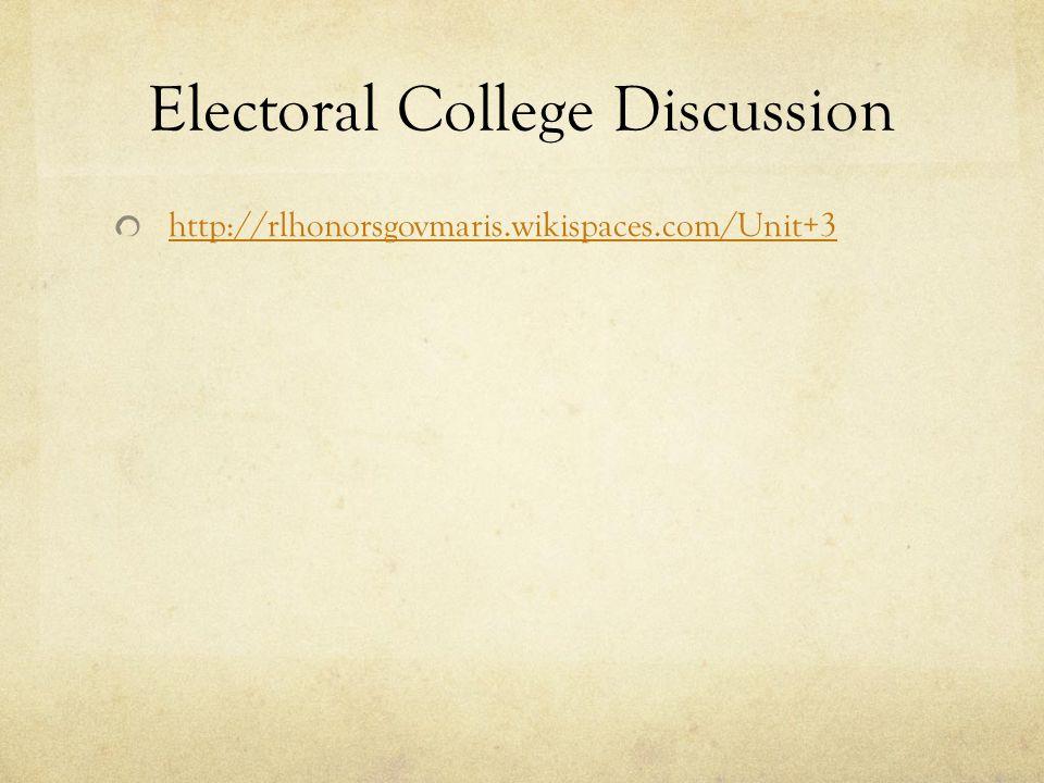 Electoral College Discussion http://rlhonorsgovmaris.wikispaces.com/Unit+3