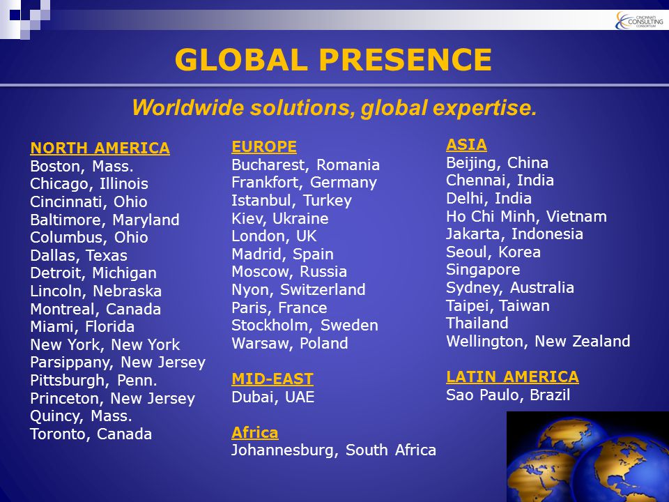 GLOBAL PRESENCE NORTH AMERICA Boston, Mass.