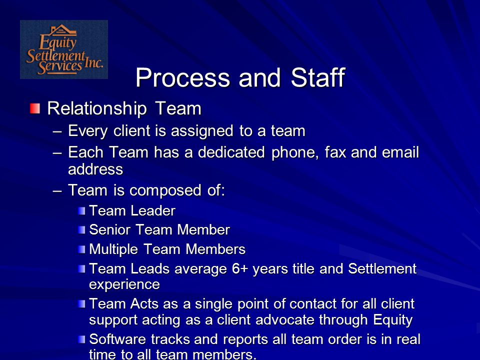 Process and Staff Relationship Team –Every client is assigned to a team –Each Team has a dedicated phone, fax and email address –Team is composed of: