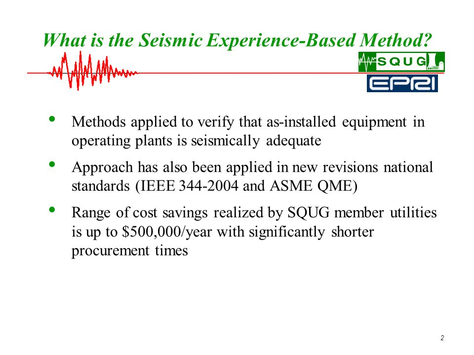 23 SQUG Support for Members' Questions SQUG provides answers to members questions on topics related to use of the SQUG methodology and seismic issues Communication methods for supporting members: - SQUG Web Site ( http://squgweb.mpr.com/ ) http://squgweb.mpr.com/ - SQUG List Server – Members can communicate by email directly with all the other SQUG member representatives - E-mail questions – SQUG contractors provide rapid response to issues and questions of concern to SQUG members - Telephone communication – SQUG contractors provide rapid response to issues and questions of concern to SQUG members