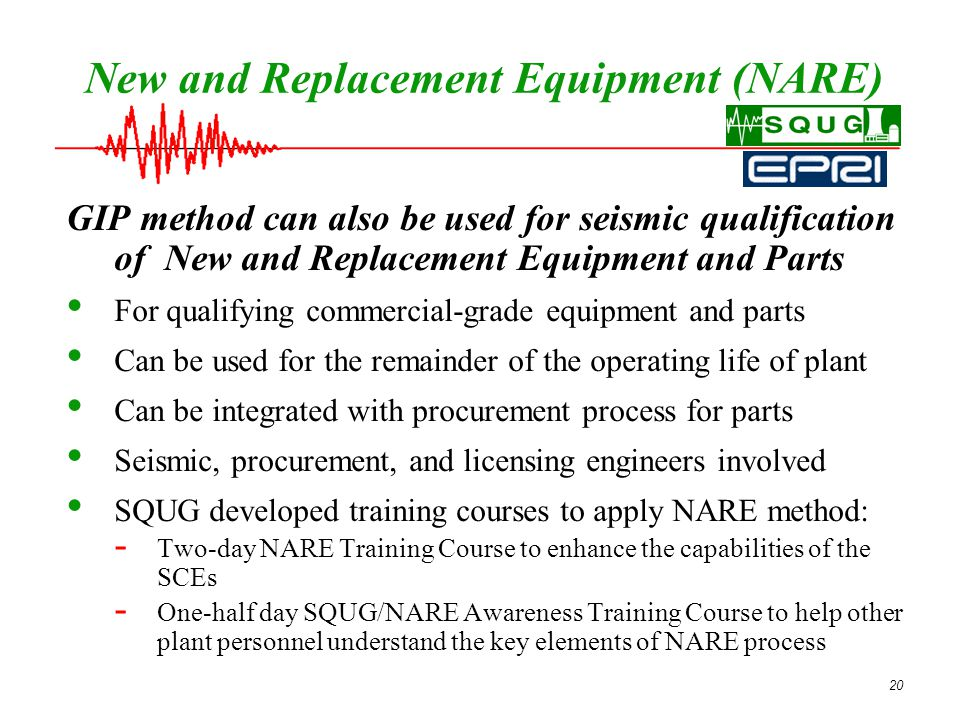 20 New and Replacement Equipment (NARE) GIP method can also be used for seismic qualification of New and Replacement Equipment and Parts For qualifying commercial-grade equipment and parts Can be used for the remainder of the operating life of plant Can be integrated with procurement process for parts Seismic, procurement, and licensing engineers involved SQUG developed training courses to apply NARE method: - Two-day NARE Training Course to enhance the capabilities of the SCEs - One-half day SQUG/NARE Awareness Training Course to help other plant personnel understand the key elements of NARE process