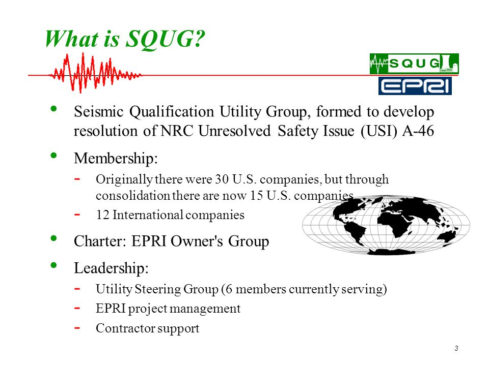 4 Members of SQUG – Past and Present American Electric Power Co.
