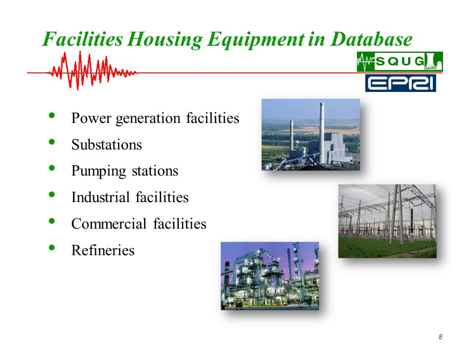 8 Facilities Housing Equipment in Database Power generation facilities Substations Pumping stations Industrial facilities Commercial facilities Refineries