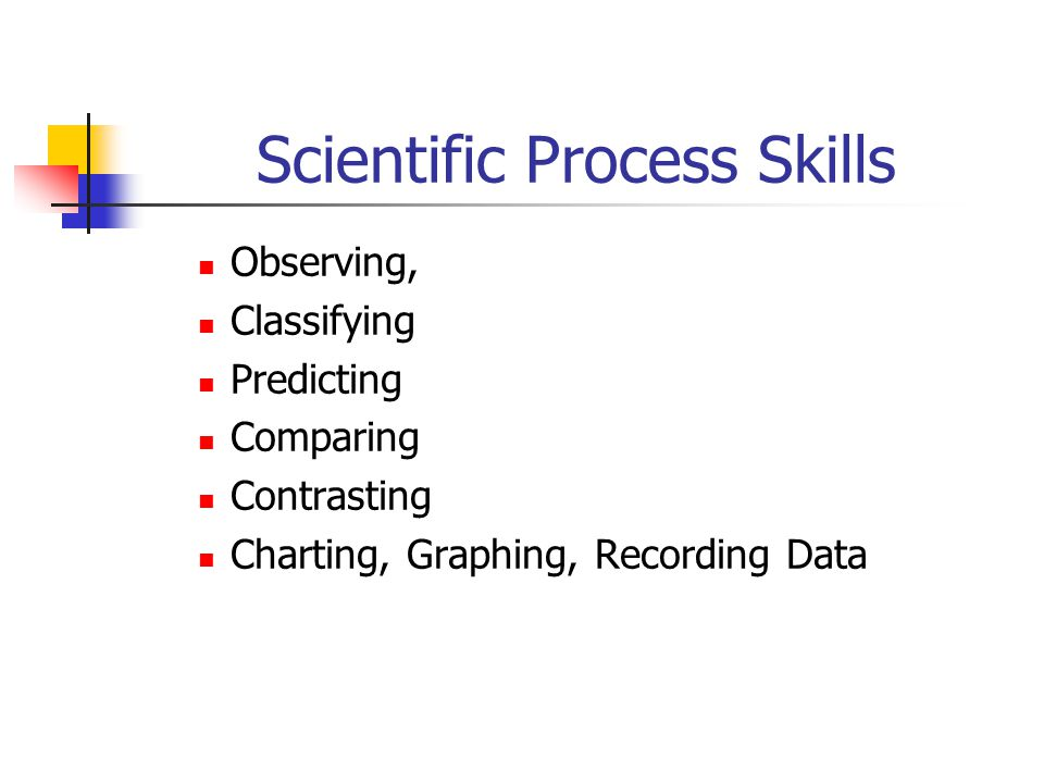 Scientific Process Skills Observing, Classifying Predicting Comparing Contrasting Charting, Graphing, Recording Data