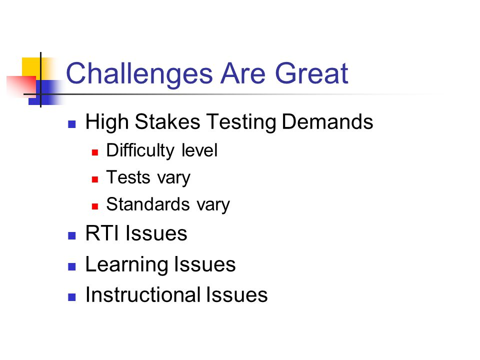 Testing Issues High Stakes Tests Represent a single measure of performance Selected at the state level Administered annually Test-taking Skills Less well developed in students with LD