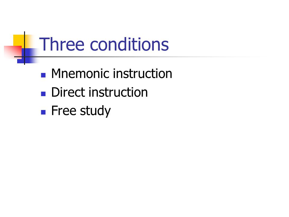 Three conditions Mnemonic instruction Direct instruction Free study