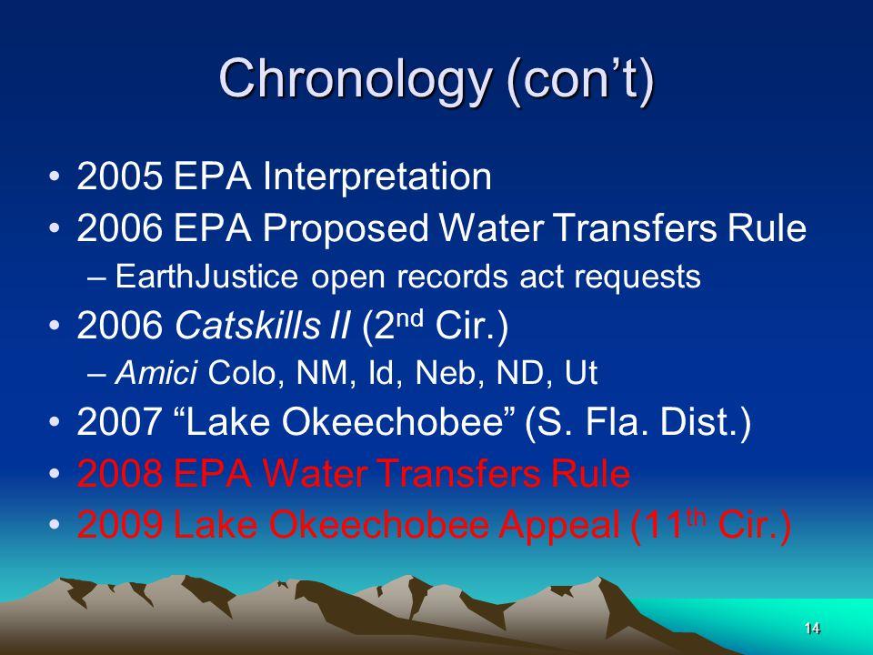 14 Chronology (con't) 2005 EPA Interpretation 2006 EPA Proposed Water Transfers Rule –EarthJustice open records act requests 2006 Catskills II (2 nd Cir.) –Amici Colo, NM, Id, Neb, ND, Ut 2007 Lake Okeechobee (S.