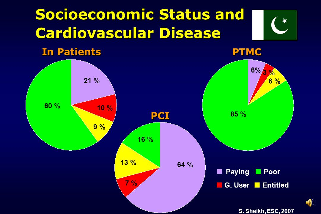 ■ Paying ■ Poor ■ G. User ■ Entitled In Patients 60 % 21 % 10 % 9 % PTMC 6% 3 % 6 % 85 % PCI 64 % 7 % 13 % 16 % Socioeconomic Status and Cardiovascula