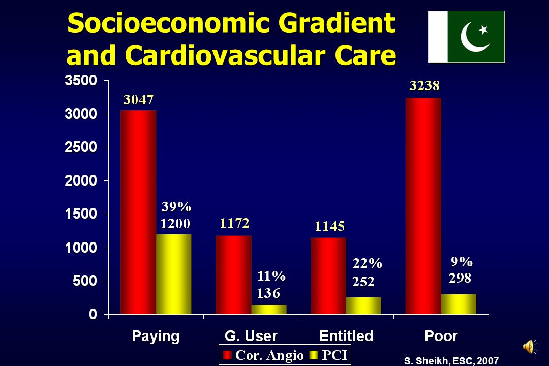 Socioeconomic Gradient and Cardiovascular Care 39% 11% 22% 9% S. Sheikh, ESC, 2007