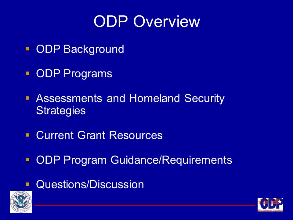  ODP Background  ODP Programs  Assessments and Homeland Security Strategies  Current Grant Resources  ODP Program Guidance/Requirements  Questio
