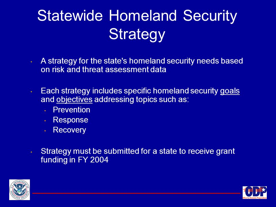 Statewide Homeland Security Strategy A strategy for the state's homeland security needs based on risk and threat assessment data Each strategy include